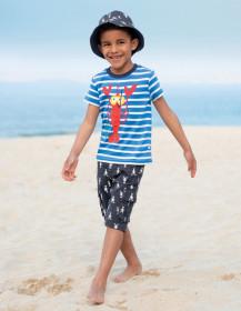 Tricou din bumbac organic - Motosu Blue Stripe/Lobster, Frugi