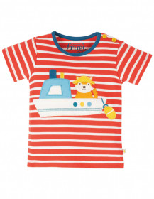 Tricou din bumbac organic -Red Stripe/Boat, Frugi