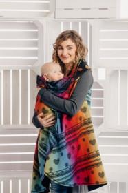 Cardigan lung/protectie babywearing pentru vreme rece, Lennylamb -Rainbow Lace Dark