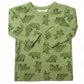 Bluză din lână merinos Joha - Bear Green