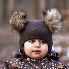 Cagulă lână merinos fleece Mikk-line - Chocolate Brown