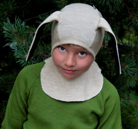 Cagula ManyMonths Bunny Ears lână merinos - Toasted Coconut