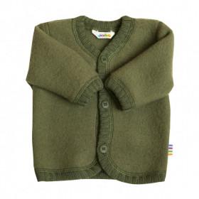 Cardigan din lână merinos tip fleece, Joha - Green