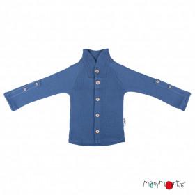 Cardigan ManyMonths lână merinos - Cosmos Blue (cu guler)