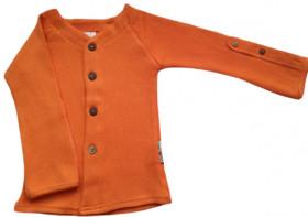 Cardigan ManyMonths lână merinos - Festive Orange, marime 5-7 ani