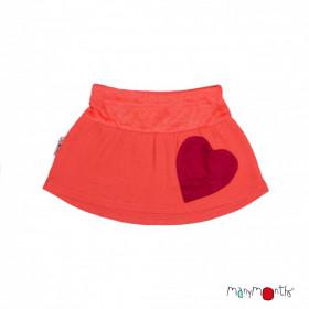 Fusta ManyMonths Heart Pocket lână merinos - Precious Coral