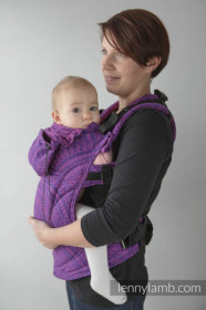 LennyLamb Baby Size, Full Wrap Conversion - PEACOCK'S TAIL PURPLE & PINK (Second Generation)