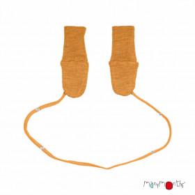 Mănuși dublate din lână merinos ManyMonths - Honey Bread