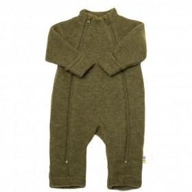 Overall Joha din lana merinos fleece, cu manusi si botosei - Basic Moss Melange