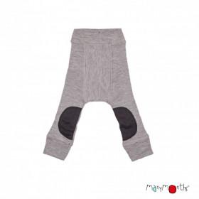 Pantaloni dublati Manymonths Patches lână merinos - Silver Cloud, 6 luni - 1,5/2 ani