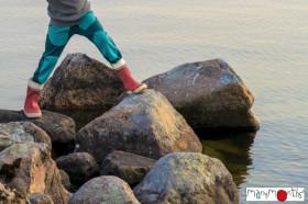 Pantaloni ManyMonths Hazel cu buzunare lână merinos - Ocean Wave