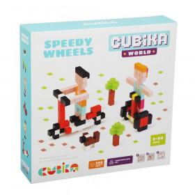 Set de constructii 200 piese, World Speedy Wheels Joc Din Lemn, Cubika