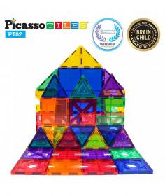 Set PicassoTiles Creativitate - 82 Piese Magnetice De Construcție Colorate - 10 Forme Diferite