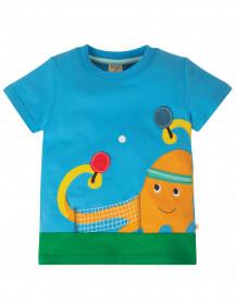 Tricou din bumbac organic - Motosu Blue/Octopus, Frugi