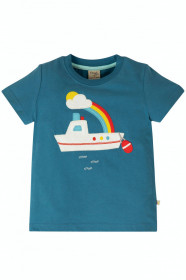 Tricou din bumbac organic - Steely Blue/Boat, Frugi