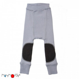 Pantaloni dublati Manymonths Patches lână merinos - Bright Silver