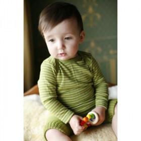 Body Cosilana din lână merinos și mătase - Dungi verzi