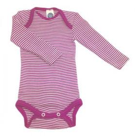 Body Cosilana din lână merinos și mătase - Dungi roz