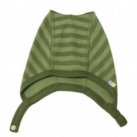 Caciulă din lână merinos Joha - Green Stripe