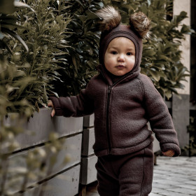 Cagulă lână merinos fleece Mikk-line - Puce Brown
