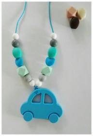 Colier de babywearing, alaptare si dentitie din silicon - Blue Car