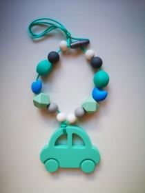 Colier de babywearing, alaptare si dentitie din silicon - Green Car