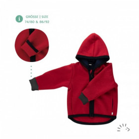 Jachetă lână merinos organica cu fermoar si buzunare tumble/boiled wool Iobio - Milo Ruby