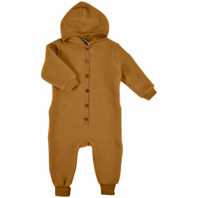 Overall Mikk-line cu gluga fleece lână merinos - Golden Brown