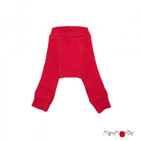 Pantaloni dublati Manymonths lână merinos - Cranberry Nectar, marime 1-4 ani