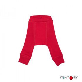 Pantaloni dublati Manymonths lână merinos - Cranberry Nectar