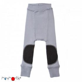 Pantaloni dublati Manymonths Patches lână merinos - Bright Silver, marime 3-9/12 luni