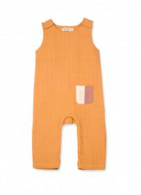 Salopetă scurtă din muselină de bumbac organic Organic by Feldman pentru bebeluși - Play of Colors Sun Ochre