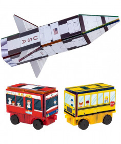 Set PicassoTiles 3-în-1 cu piese de construcție și autocolante magnetice (64 piese) - Rachetă, Tren și Autobuz școlar