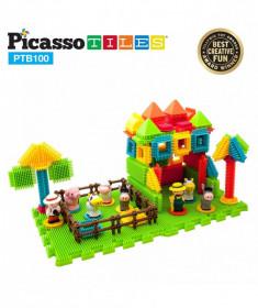 Set PicassoTiles Basic Bristle Shape Blocks Farm - 100 de forme de construcție ce se întrepătrund