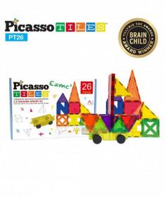 Set PicassoTiles Inspirațional - 26 piese magnetice de construcție colorate - 9 forme diferite