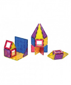 Set Playmags Junior: 32 piese magnetice de construcție + 6 clickins ABC