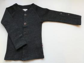Cardigan ManyMonths lână merinos - Foggy Black