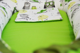 Baby Nests din bumbac Green Owls