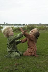Bluză din lână merinos Joha - Green Stripe