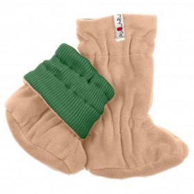 Botosei ajustabili ManyMonths Winter Booties pt babywearing - Jade Green/Beige