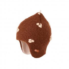 Căciulă din lână fiartă Pure Pure - Brown Ecru