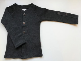 Cardigan ManyMonths lână merinos - Foggy Black, marime 5-7,5 ani