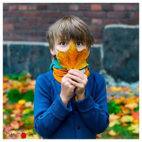 Cardigan ManyMonths lână merinos - Jewel Blue, marime 5-7,5 ani