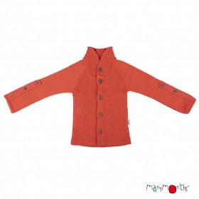 Cardigan ManyMonths lână merinos - Rooibos Red (cu guler)