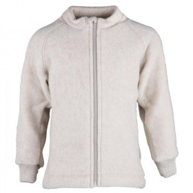 Jacheta Mikk-line din fleece lână merinos - Melange Offwhite