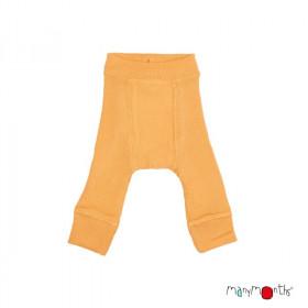 Pantaloni dublati Manymonths lână merinos - Golden Oat, marime 1-4 ani