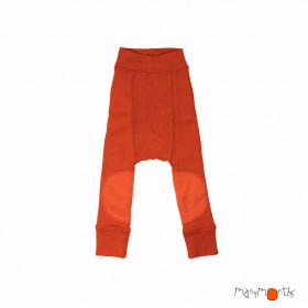 Pantaloni dublati Manymonths Patches lână merinos - Rooibos Red