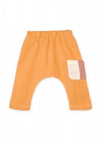 Pantaloni-șalvari din muselină de bumbac organic Organic by Feldman - Play of Colors Sun Ochre