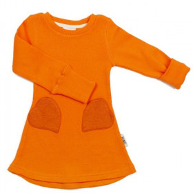Rochie ManyMonths Unique Heart Pockets lână merinos - Festive Orange