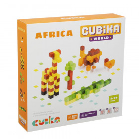 Set de constructii 200 piese, World Africa, Joc Din Lemn, Cubika